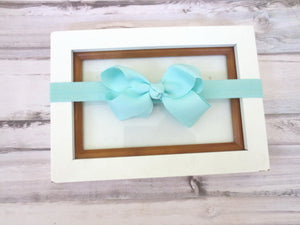 Aqua Small Bow Baby headband