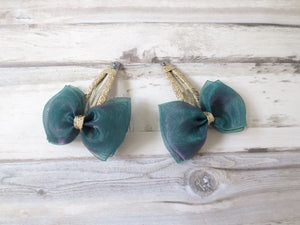 Peacock Green Chiffon Bow Hair Clip