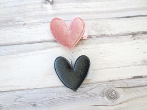Set of Two Velvet Heart Hair Clip