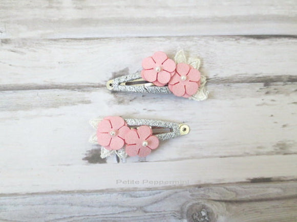 Pink Flower on Silver Hair Clip Set of Two