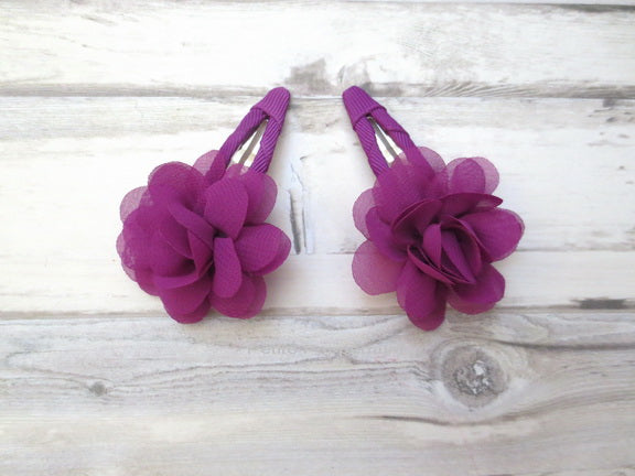 Purple Flower Hair Clip - Set of Two