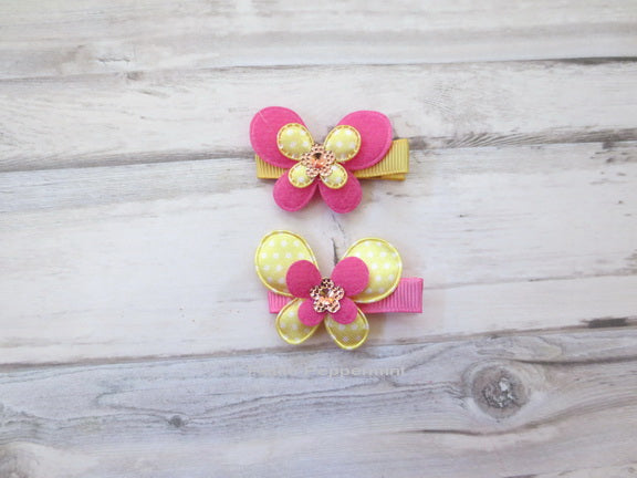 Hot Pink and Yellow Butterfly Hair Clip
