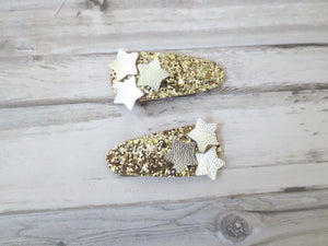 Silver Gold Sparkly Star Hair Clips - Set of Two