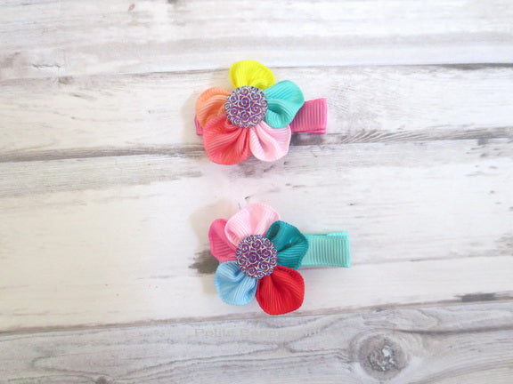 A set of two - Multi Color Flower Hair Clip
