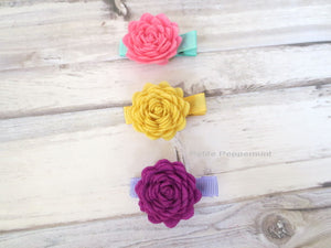 Felt Flower Hair Clip for baby, toddler, and little girl - Set of three