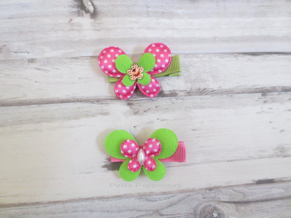 Hot Pink and Green Butterfly Hair Clips Set Of Two