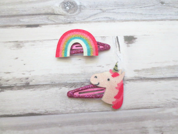Rainbow and Unicorn Girl Hair Clip