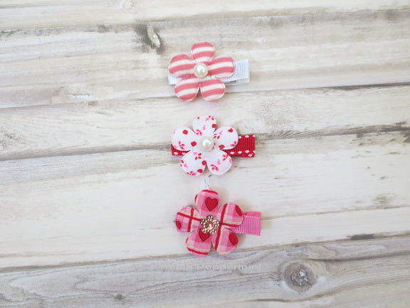Set of Three Flower Hair Clips