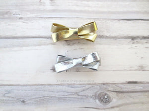 Gold and Silver Bow Hair Clip