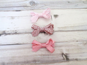 Pink Bow Hair Clip Set for Baby, Toddler, and Little Girl
