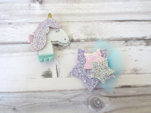Unicorn and Star Hair Clip Set
