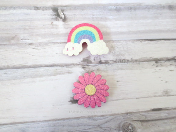 A set of Two - Rainbow and Pink Flower Hair Clips