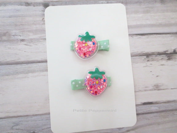 Set of Two Pink Strawberry Hair Clip
