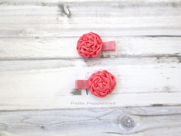 Coral Rolled Rosette Hair Clips - Set of two