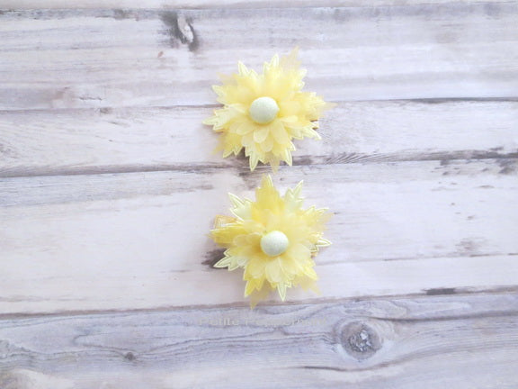 Yellow Flower Hair Clip - Set of Two