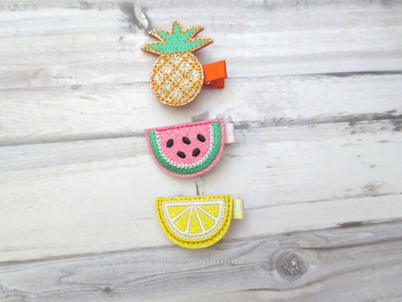 Fruit Hair Clips Set of Three for baby, toddler, and little girl