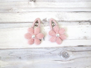 Dusty Pink Fuzzy Flower Hair Clips