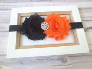 Black Orange Shabby Flower Headband
