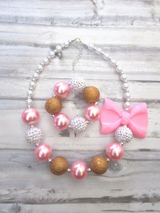 Pink White Bronze Baby, Toddler, Girl Necklace and Bracelet