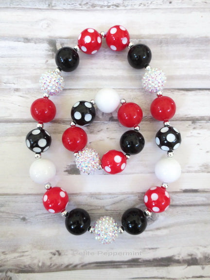 Red, Black, White Necklace and Bracelet