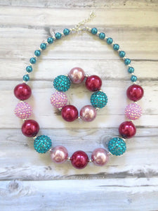 Burgundy Teal Necklace and Bracelet