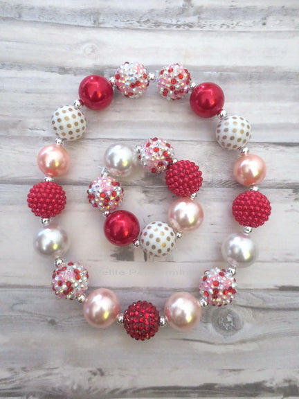 Red White Pink Valentine Necklace and Bracelet