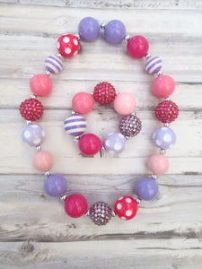 Pink and Purple Necklace and Bracelet