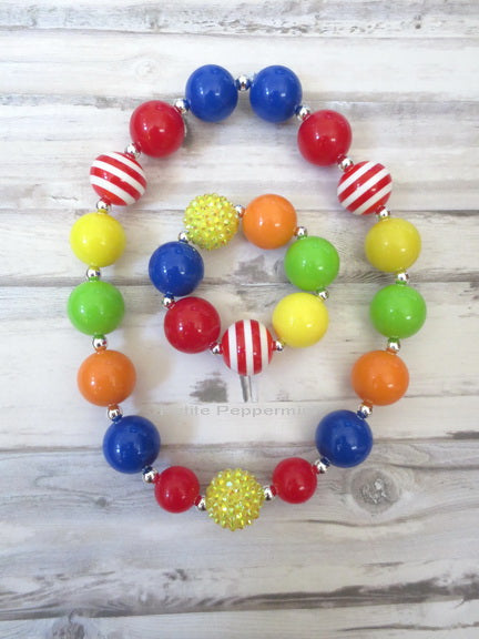 Rainbow Color Baby, Toddler, Girl Bubblegum Necklace