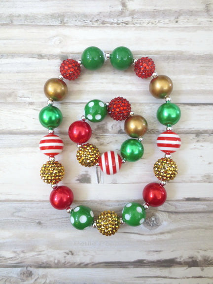 Red Green Gold Christmas Holiday Necklace and Bracelet
