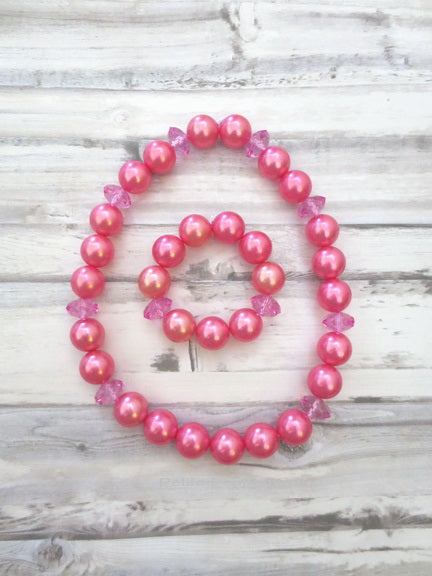 Hot Pink Pearl Necklace and Bracelet