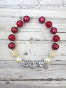 Burgundy Silver Necklace
