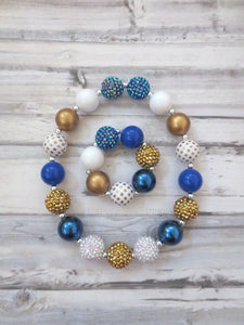 Blue and Gold Necklace and Bracelet
