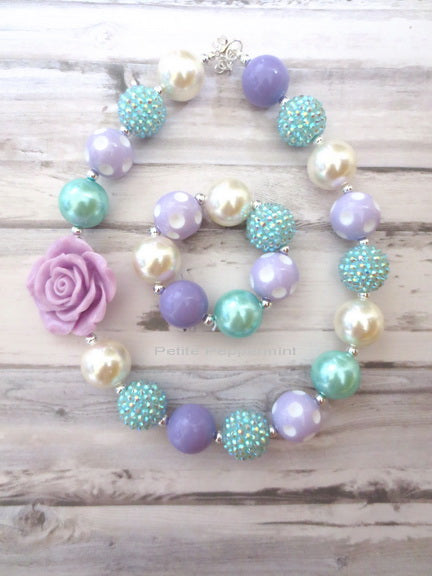 Aqua and Lavender Baby Toddler Girl Necklace