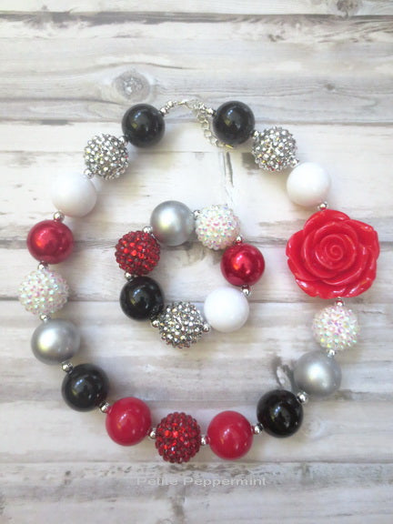 Red White Black Necklace and Bracelet