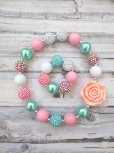 Pink Aqua Necklace and Bracelet