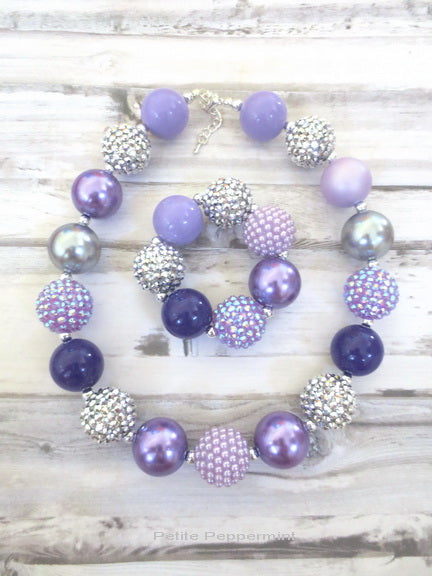 Purple Silver Necklace and Bracelet