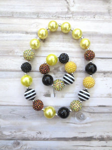 Black and Yellow Bead Necklace and Bracelet