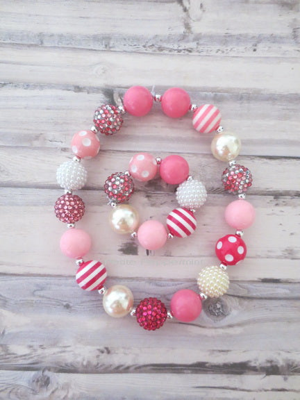 Pink White Necklace and Bracelet