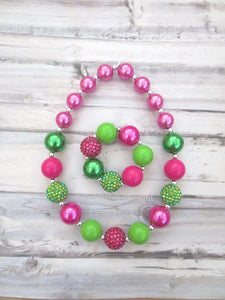Hot Pink and Green Necklace and Bracelet