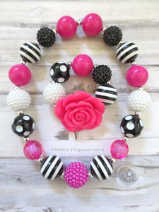 Black and Hot Pink Bubblegum Necklace and Bracelet