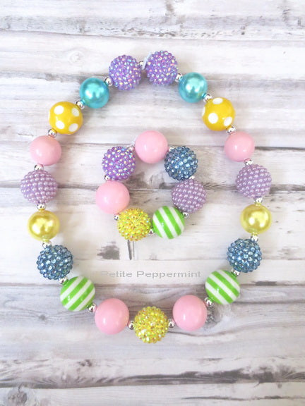 Pastel Color Necklace and Bracelet