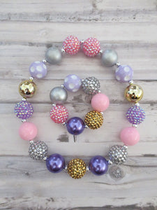 Pink Lavender Silver Gold Necklace and Bracelet
