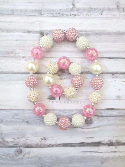 Pink Ivory Necklace and Bracelet