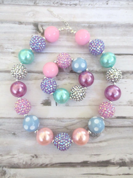 Pink Purple Aqua Necklace and Bracelet