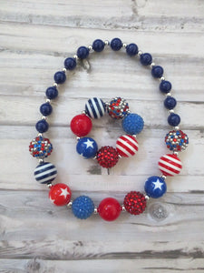Red White Blue Necklace and Bracelet