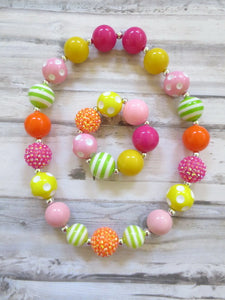 Colorful Beads Necklace and Bracelet