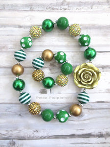 Green and Gold Necklace and Bracelet