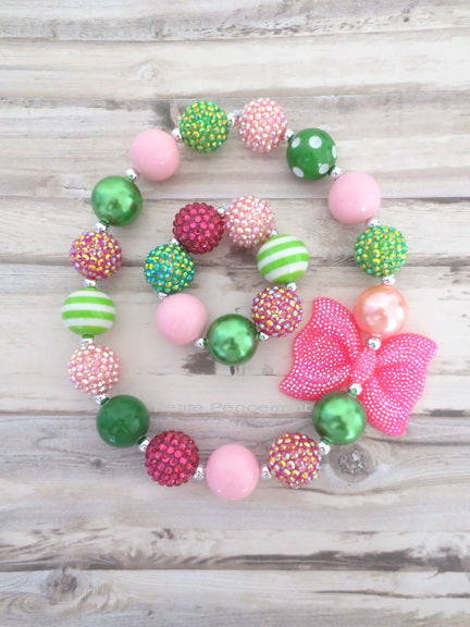 Pink and Green Necklace and Bracelet