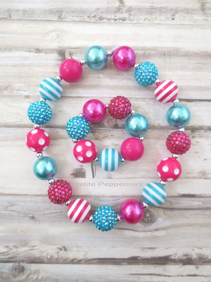 Hot Pink and Turquoise Necklace and Bracelet