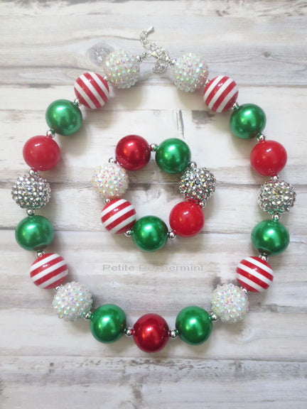 Red Green White Christmas Holiday Necklace and Bracelet